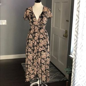 Band of Gypsies Surplice Floral Print Dress